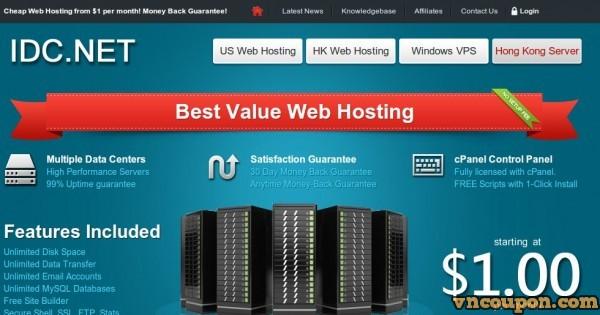 IDC.NET – Cheap US, Hong Kong cPanel Hosting $1/month