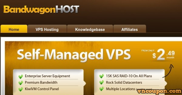 Bandwagon Host – SSD VPS Promo 512Mb RAM $9.99 USD Annually