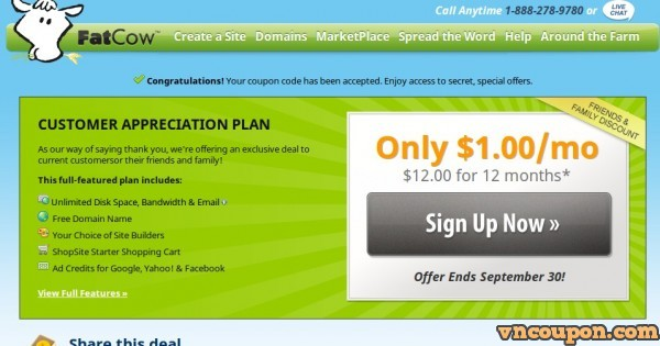 Fatcow Secret Offer –  Unlimited Hosting only $1/month