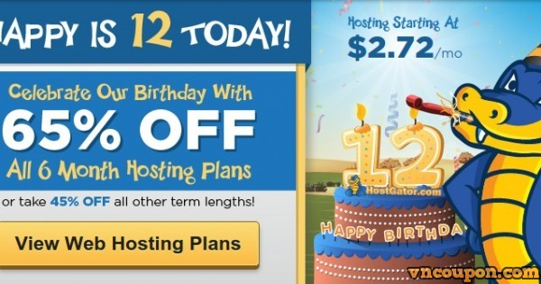 Hostgator – Birthday Sale Up To 65% Off New Hosting