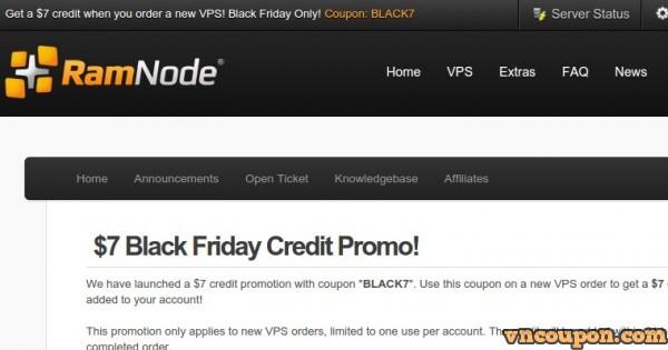 [Black Friday 2014] Ramnode – get $7 credit promo
