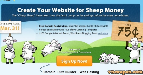 Fatcow – Web Hosting Offer $9/year, Free Domain, $50 FB Ad Credit