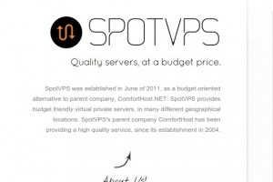 SpotVPS.Com 72 Hour Sale – 2GB RAM 20GB Pure SSD VPS only $30/year