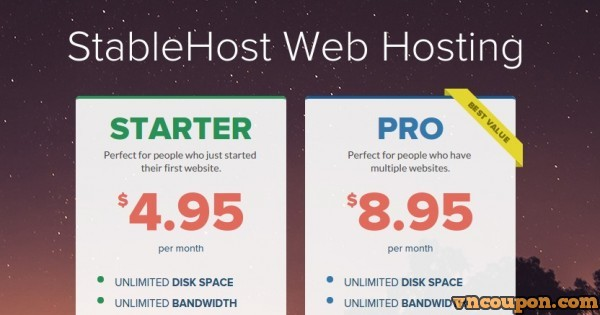 StableHost – Web Hosting Coupon Code only $0.01 for the first month