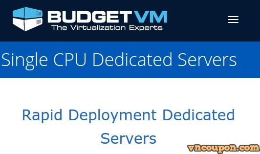BudgetVM – Dedicated Servers Sale 50% OFF from $39/month for 4GB RAM