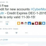 [Cyber Monday 2015] Vultr – $30 Free Credit for new accounts