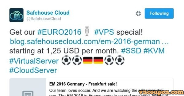 EURO 2016 sale! VPS special from Safehouse Cloud in Frankfurt, Germany