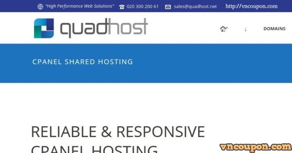 QuadHost UK cPanel Shared Hosting from £5/year! SSD/ Dedicated IPv4/ DDoS Protected