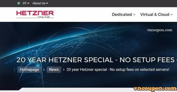 Hetzner 20 YEAR SPECIAL – No Setup fee on RYZEN Dedicated Server