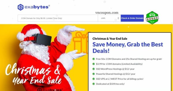 Exabytes – Christmas & Year End 2017 Sale – $3.99 for .COM – Hostings @ $12/ year