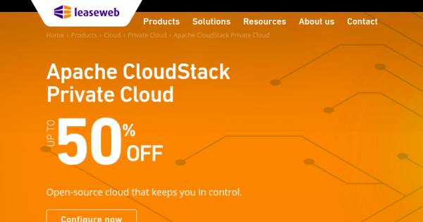 LeaseWeb Coupon & Promo codes in on January 2020 – 50% OFF Apache CloudStack Private Cloud