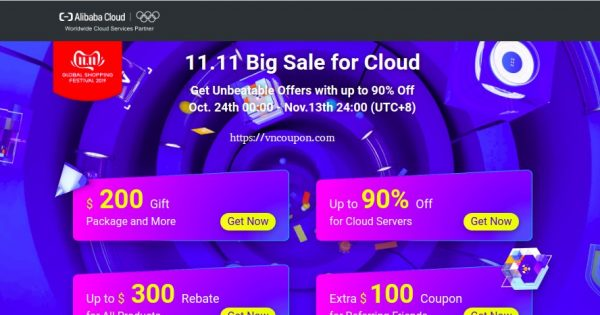 [11.11 Deals] Alibaba – The Biggest Deals of the Year – Up to 90% Off on Cloud Servers – Coupons Worth Up to $500