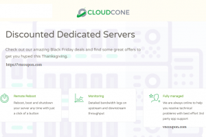 [Black Friday 2018] CloudCone – Save 40% on Dedicated Servers with large volume SSDs
