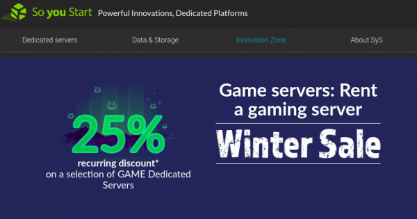 [Winter Sale] OVH So You Start – 25% Off Dedicated Game Servers Promo
