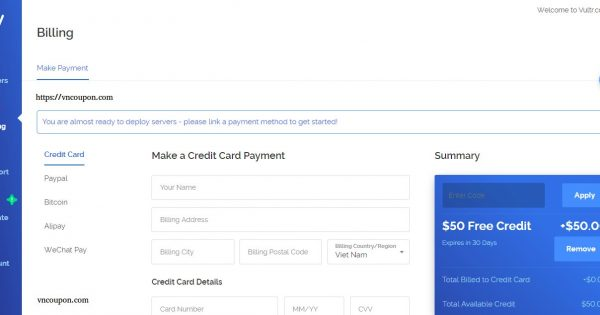 Vultr Promotions And Gift Codes for January 2019 –  $50 Free Credit for New Account – $2.5 Cloud Instance New Plan
