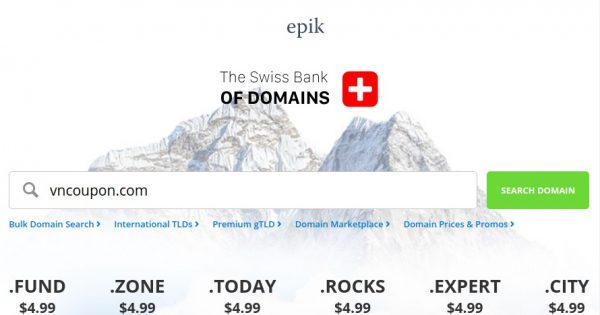 Epik Coupon & Promo Codes on July 2020 – Domain Registration from $0.79 for first year – Transfer .COM only $6.99