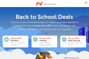 [Back to School Deals] Namecheap – Save Up To 99% OFF Domains & Hosting