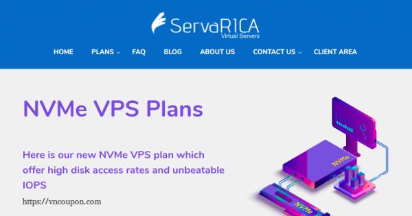 ServaRICA – 6GB RAM & 80GB NVMe VPS only $7/month