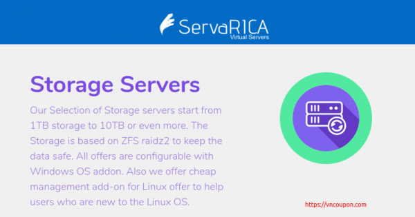 ServaRICA – Big Storage VPS With 1.5TB Disk Space & Unlimited Bandwidth only $7/Month