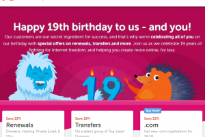 Namecheap 19th birthday – Save off 19% on renewals & Transfer – 25% off new .com domains