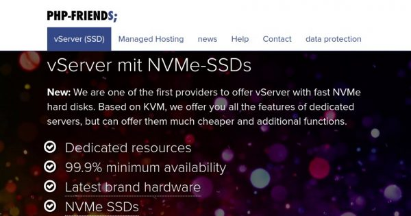 PHP-Friends – vServer Schnupperspecial 2019 – 6 GB RAM only $4/month