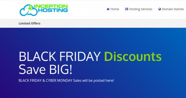 [Black Friday 2019] Inception Hosting – 50% off Storage, Openvz 7 & KVM VPS