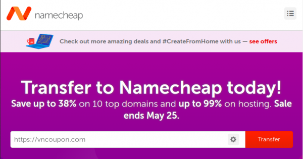 Namecheap Transfer Week Sale – Up to 33% OFF Domain, 99% OFF Web Hosting