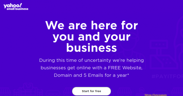 Yahoo – Free .COM, .NET, .ORG domain, 5 Emails for a year