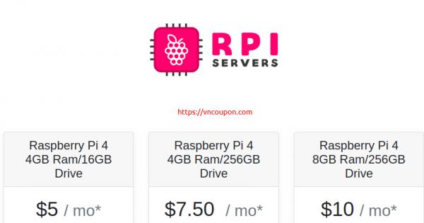 RPIServers – Raspberry Pi Hosting from $5/month – 4GB RAM/16GB Storage Drive