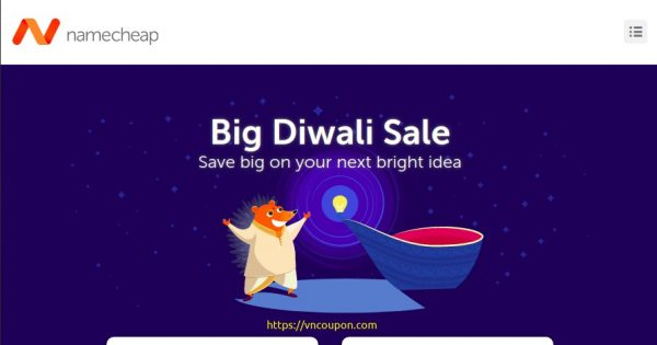 [Big Diwali Sale] Namecheap – Save 60% OFF on your new .IN this Diwali, plus renew & transfer for less