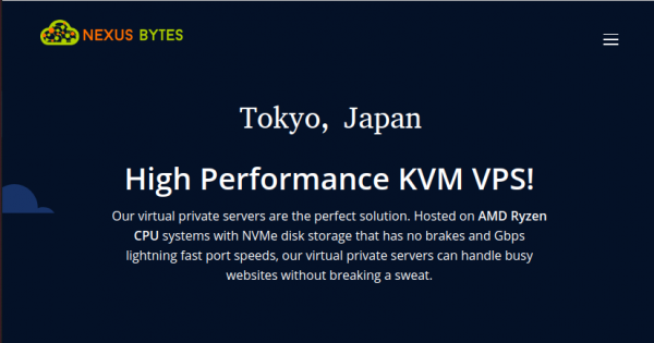 NexusBytes offer Ryzen KVM VPS in Tokyo, Japan only $38.4/Year – DOUBLE Storage & Bandwidth