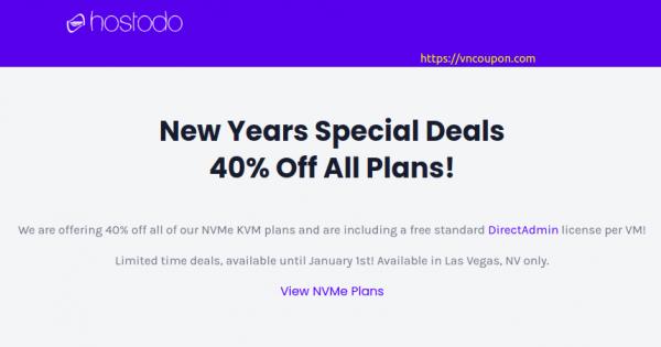 [New Year 2021] Hostodo – 40% Off NVMe KVM VPS from $11.99/Year + Free DirectAdmin License