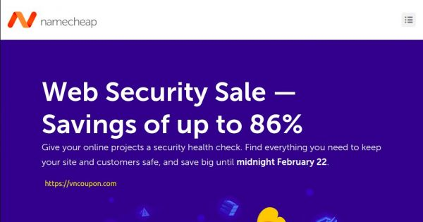 [Web Security Sale] Namecheap – Savings of up to 86%