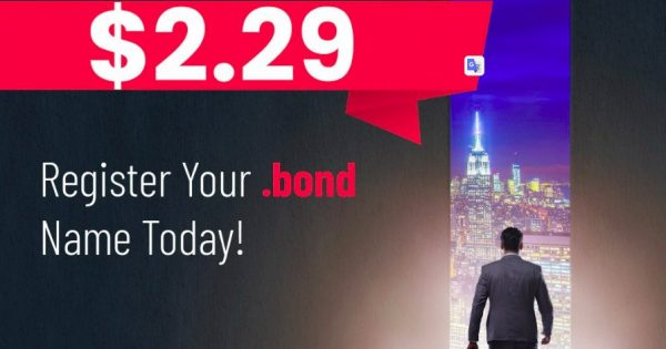 Namesilo Promotions And Coupon Codes on August 2021 – Get your standard .BOND domain name for only $2.29