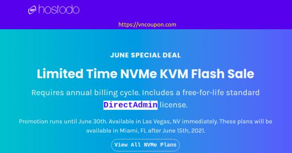 [Flash Sale] Hostodo Limited Time NVMe KVM VPS from $34.99/year  – Free DirectAdmin – Las Vegas & Miami