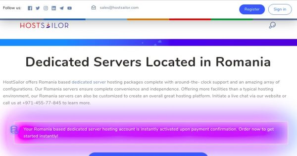 HostSailor – E3 Dedicated Servers Offer in Bucharest, Romania From $40.95/month!