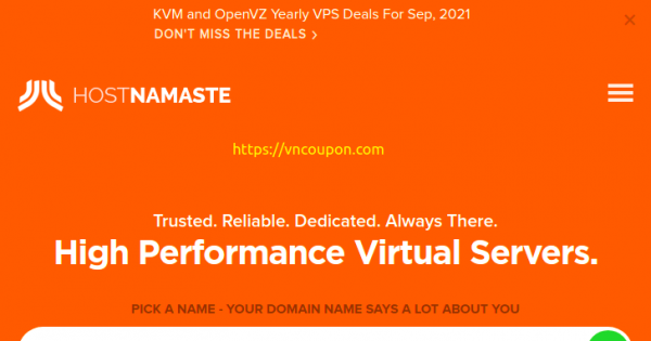 HostNamaste - Yearly VPS Offers from $20/year! - VN Coupon