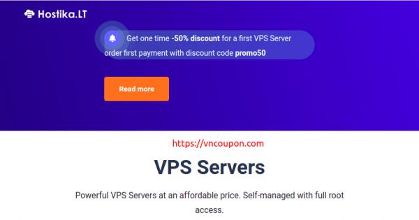 Hostika.LT – 50% One Time Discount on KVM VPS