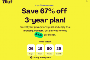 BlufVPN – Save 67% on 3-year subscription plan!