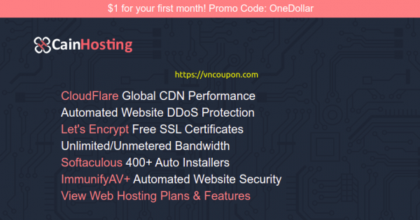 CainHosting – 10% Off Shared Hosting Offers – $1 for your first month
