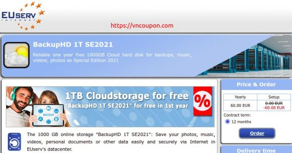 EUServ.com! Free 1TB of Cloud Storage for 1 year