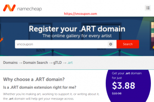 Get your .ART domain now just $3.88/year at Namecheap