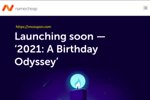 Namecheap Birthday Odyssey 2021 Sale – Get 21% off .com registrations and domain transfers + 21% off renewals.