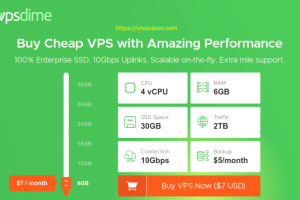 VPSDime – Try VPS Plan for only $1 first month! 4vCPU / 6GB RAM / 30GB SSD / 10Gbps Network