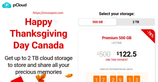 pCloud Happy Thanksgiving Day Canada – Save 76% off Cloud Storage